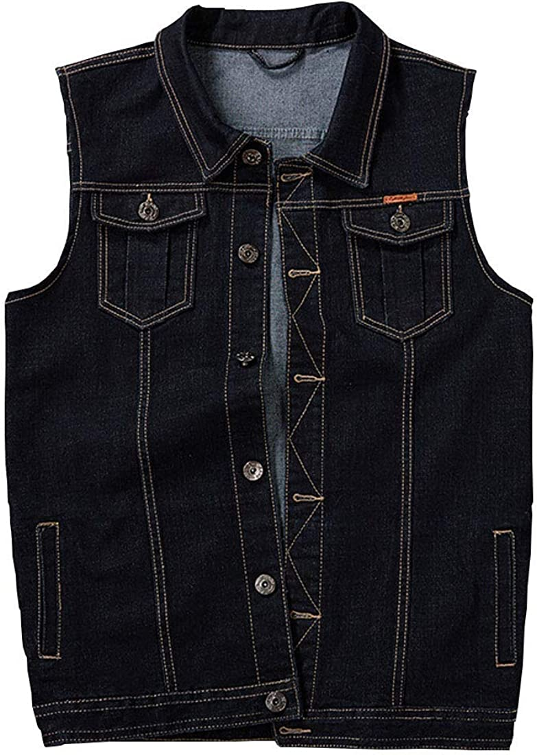 Mens Plus Size Denim Vest Casual Sleeveless Jacket Cowboy Waistcoat Gilets Outwear S-5XL