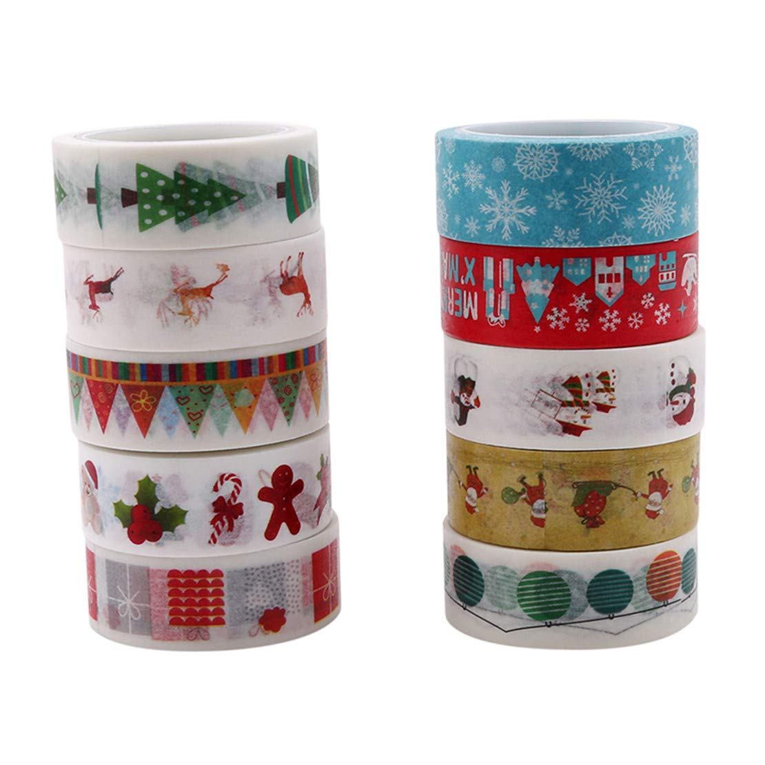 Winwinfly 10Pcs / pack Christmas Decorative Washi Tape DIY Adhesive Scrapbooking Stickers(Style 5