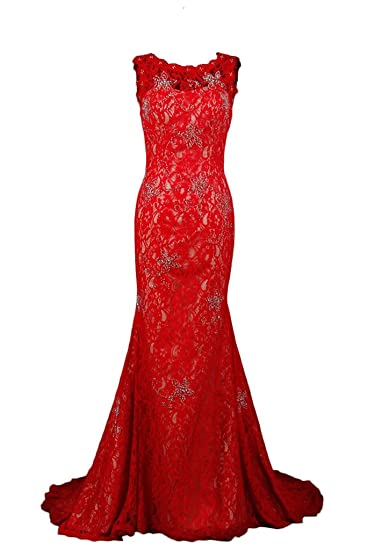 Sunvary Champagne and Red Mermaid Lace Prom Dresses for Evening Formal Gowns Long: Amazon.co.uk: Clothing