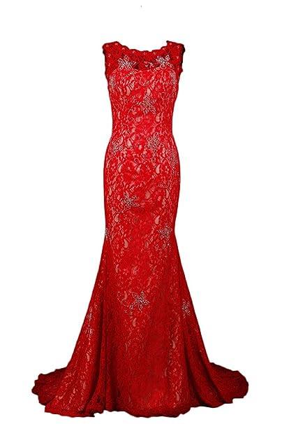 newest b6765 6f197 Sunvary champagne e rosso sirena pizzo Prom abiti per abiti ...