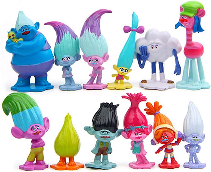 LEBERY Trolls Doll Cake Toppers 12pcs, Mini Trolls Action Figures Birthday Cake Topper Cupcake Topper, Children Trolls Toys, Troll Cake Decoration for Kids Birthday Baby Shower Troll Theme Party Supplies