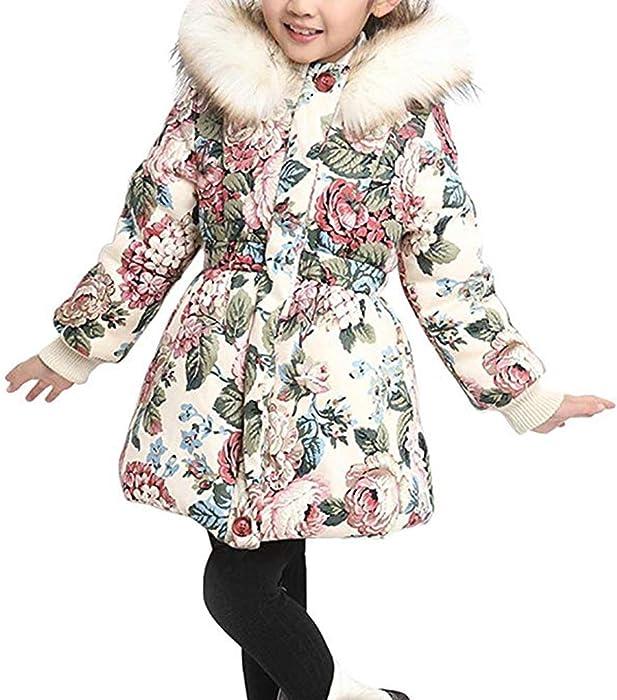 20b6df522676 Amazon.com  DNggAND Child Kids Girls Winter Flower Cotton Coat ...