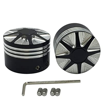 Front Axle Nut Cover Axle Caps Set Black for Harley Dyna Softail Electra Road Glide Sportster Fat Boy: Automotive