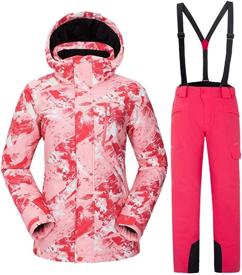 レディース防水ジャケット アウトドアスキースーツセット女性のスキースーツセットメンズカップルセットスノースーツ スキー冬用ジャケット (色 : C8, サイズ : S) C8 Small
