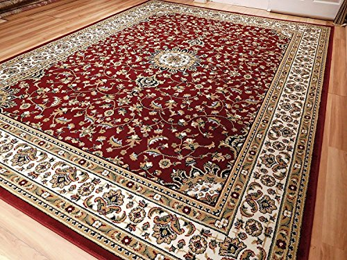 New red traditional persian area rugs 5x5 round rugs 5ft for Round area rugs for living room