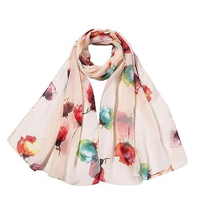 dfcaa1b7a16 Clearance Sale !Women Ladies Scarf, Flower Printing Long Soft Wrap Scarf  Shawl Scarves Soft Shawl Lattice Long Scarf