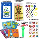 84 Pc Kids Top Choice Party Favor Pack (12 Joke Wikki Stix, 12 Sticky Hands, 12 Make-a-monster Sticker Sheets, 12 Whistle Blow Saucers, 36 Kid's Tattoos)
