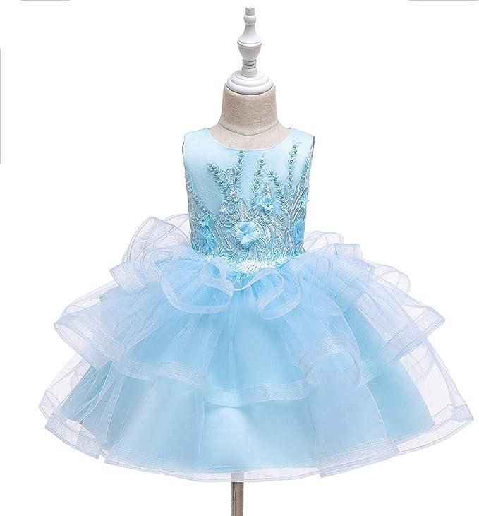 Amcool sukienka dla dziewcząt, sukienka z tiulu, z koronką, haftem, sukienka dla panny młodej (2-10 lat): Odzież