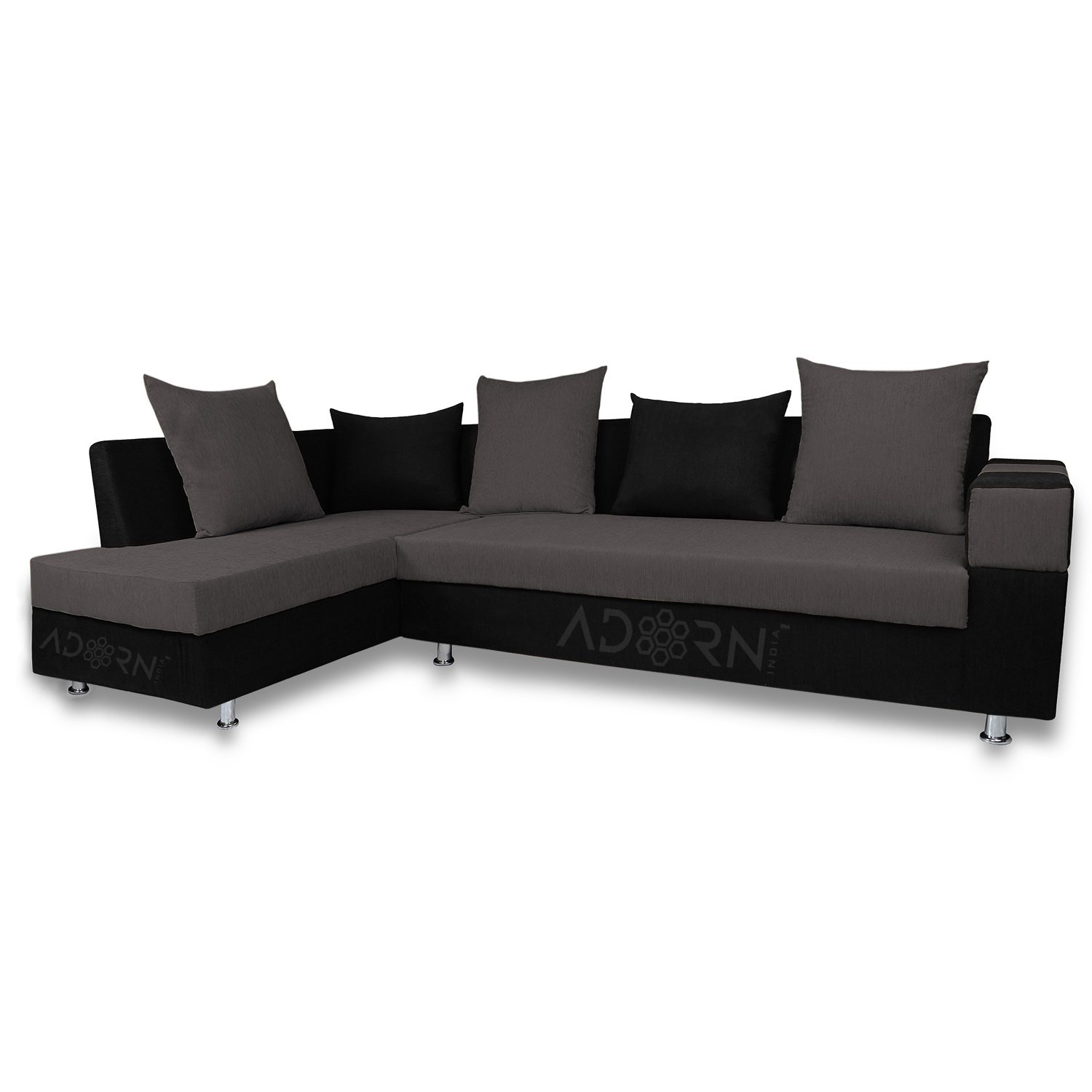 Adorn India Adillac 5 Seater Corner Sofa(left Side Handle)(grey & Black): Amazon.in: Electronics