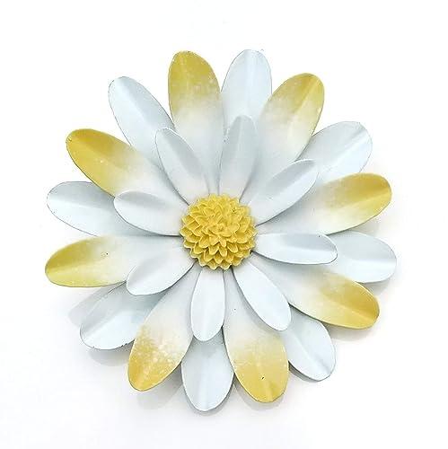bee018e4e16 Amazon.com: Large White and Yellow Metal Enamel Flower Brooch Daisy:  Handmade