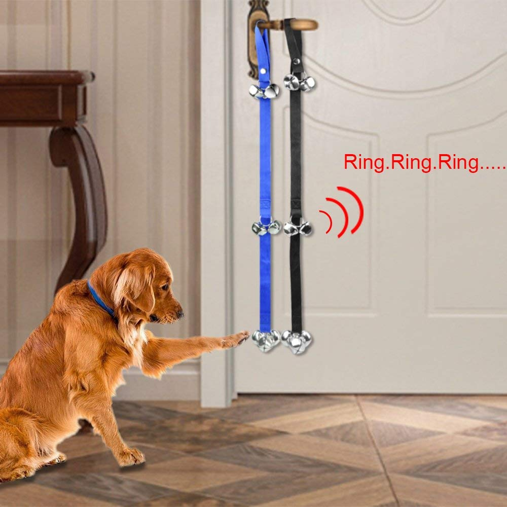 Anser Creative Extra Loud Bells for Dog  1 4 Inches Dog Doorbell Black Blue 2 Pack 1 Piece Free Gift Pet Steel Comb by Anser Creative