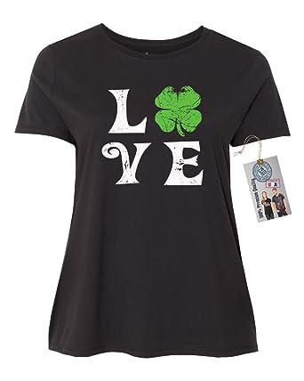 bab605d56b600 St Patricks Day Love Shamrock Shirt Plus Size Womens Short Sleeve T-Shirt  Black 1XL
