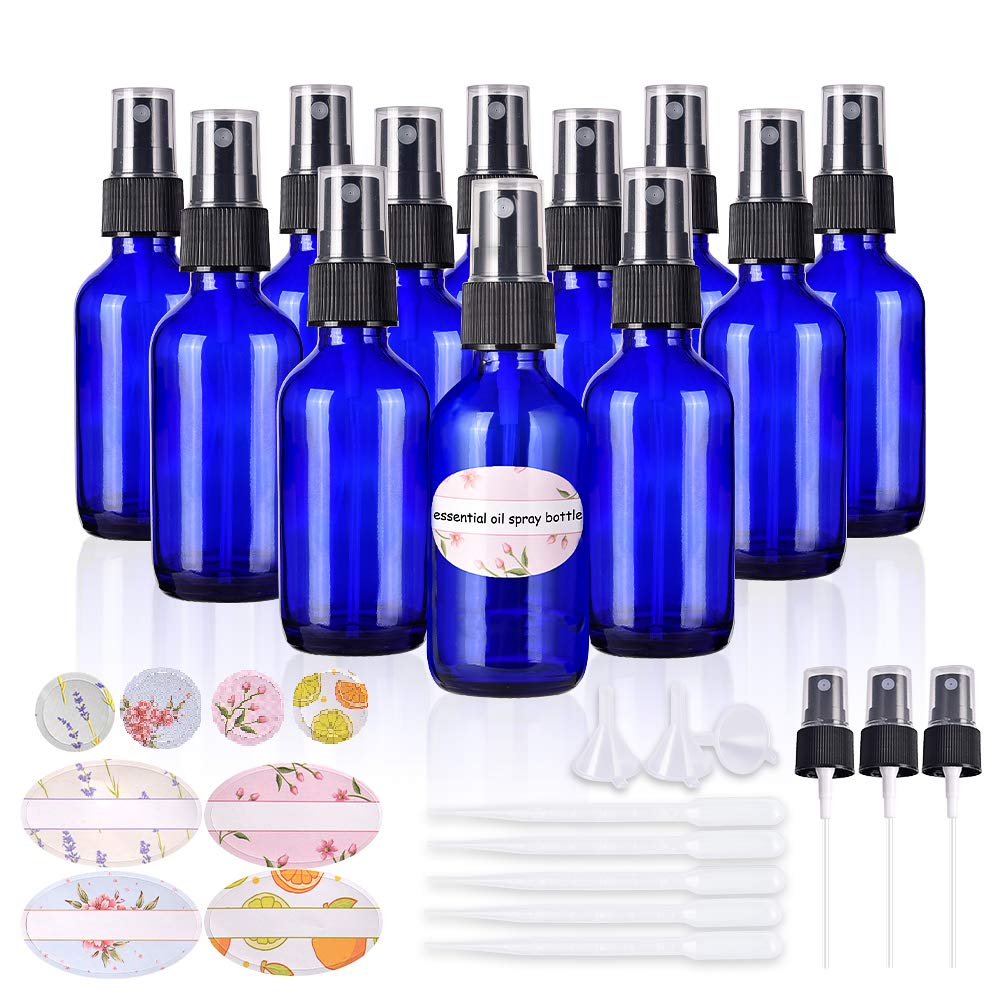 Empty spray bottles,2oz Refillable Glass Spray Bottle is Great for Essential Oils,Beauty Products, Homemade Cleaners and Aromatherapy-12Pack (3 Funnels,5 Droppers,3 Extra Nozzles,Labels Included)