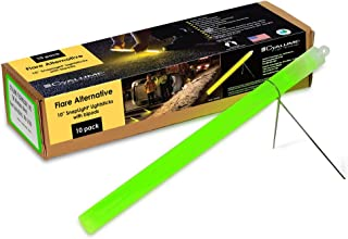 "product image for Cyalume-9-27049 Industrial Grade SnapLight Flare Alternative Chemical Light Sticks with Bipod Stand – Non-Flammable, Waterproof Light Stick, Provides 2 Hours of Bright Light – Green, 10"" Long (Pack of 10)"