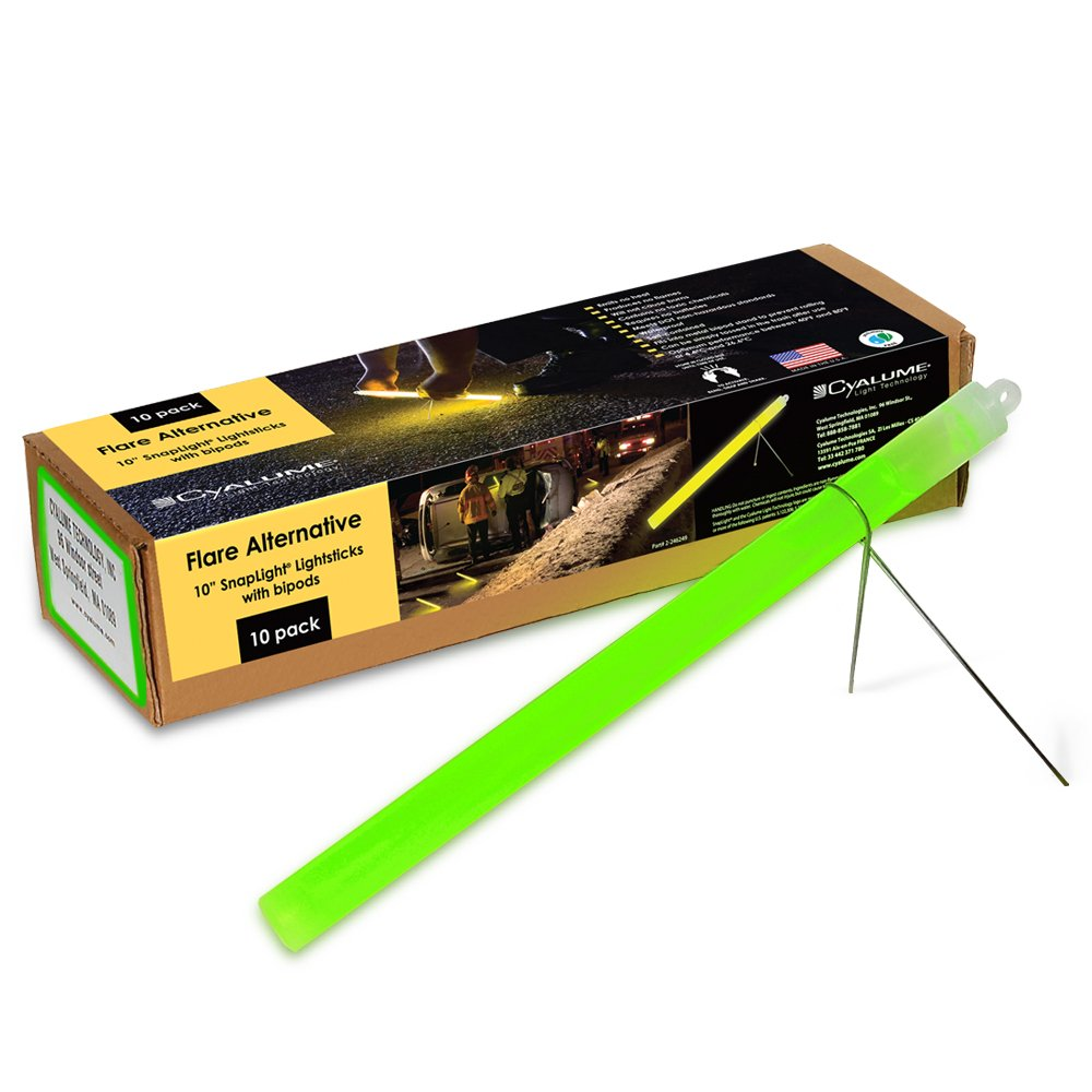 """Cyalume Industrial Grade SnapLight Flare Alternative Chemical Light Sticks with Bipod Stand – Non-Flammable, Waterproof Light Stick is a Safer Alternative to Pyrotechnic Flares, Provides 2 Hours of Bright Light – Green, 10"""" Long (Pack of 10)"""