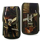 Heavy Duty Rugged Camo Hunting Case with Hook and Loop Locking Clip Closure and Metal Clip on the back for Motorola Moto Z3 Play Phone with a cover on it.