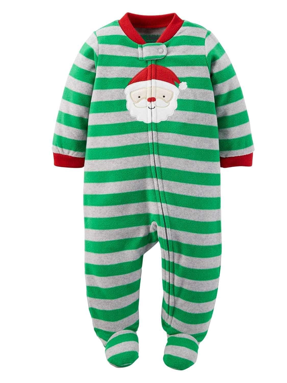 Child of Mine Carters Infant Boys Green Fleece Santa Claus Christmas Sleeper Sleep & Play