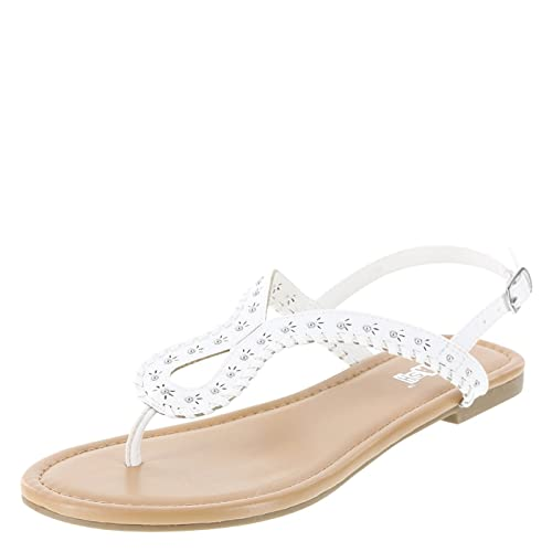7d34eb40d895f Brash White Women s Wishful Embellished Flat Sandal 10 Regular ...