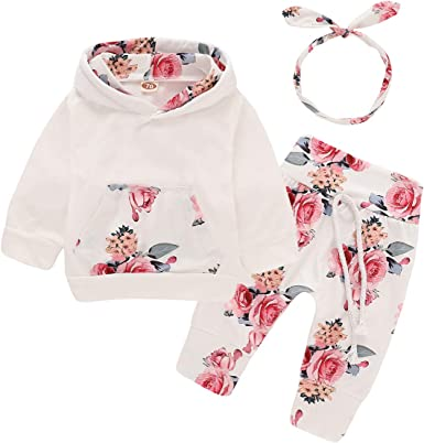 New born Kid Baby Boys Girl Cotton Clothes Hooded Tops+Pants Outfit Tracksuit