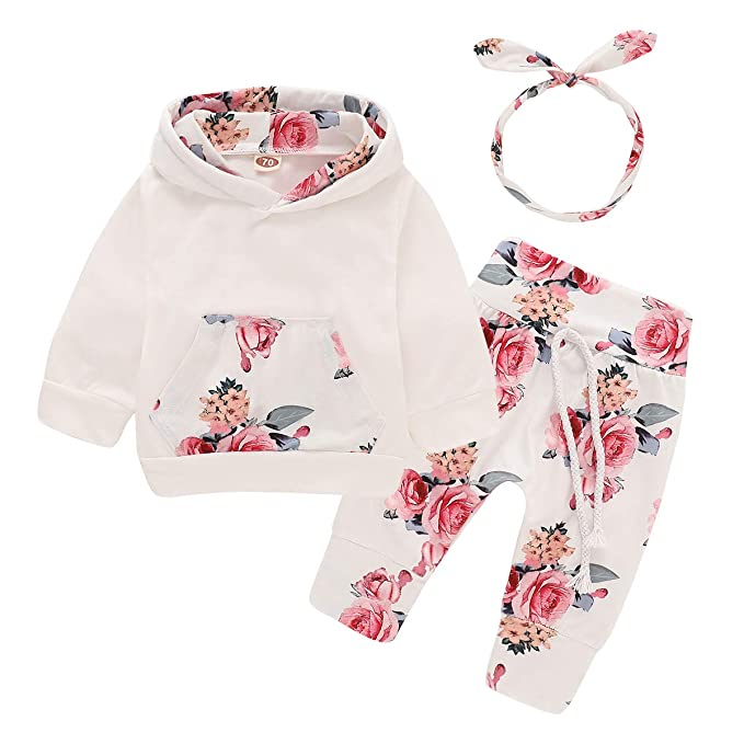 bd12eaa8468fa 3PCS Newborn Kids Baby Girl Clothes Hooded Sweater Tops+Floral Pants  Outfits Set with Headband