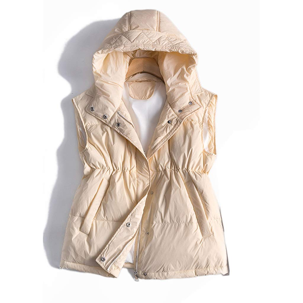 Women's Highend Down Vest with Drawstring, Ladies Vests Sleeveless Lightweight with Hood, MultiFunction Zipper Zip Vest with Button (Size   M)