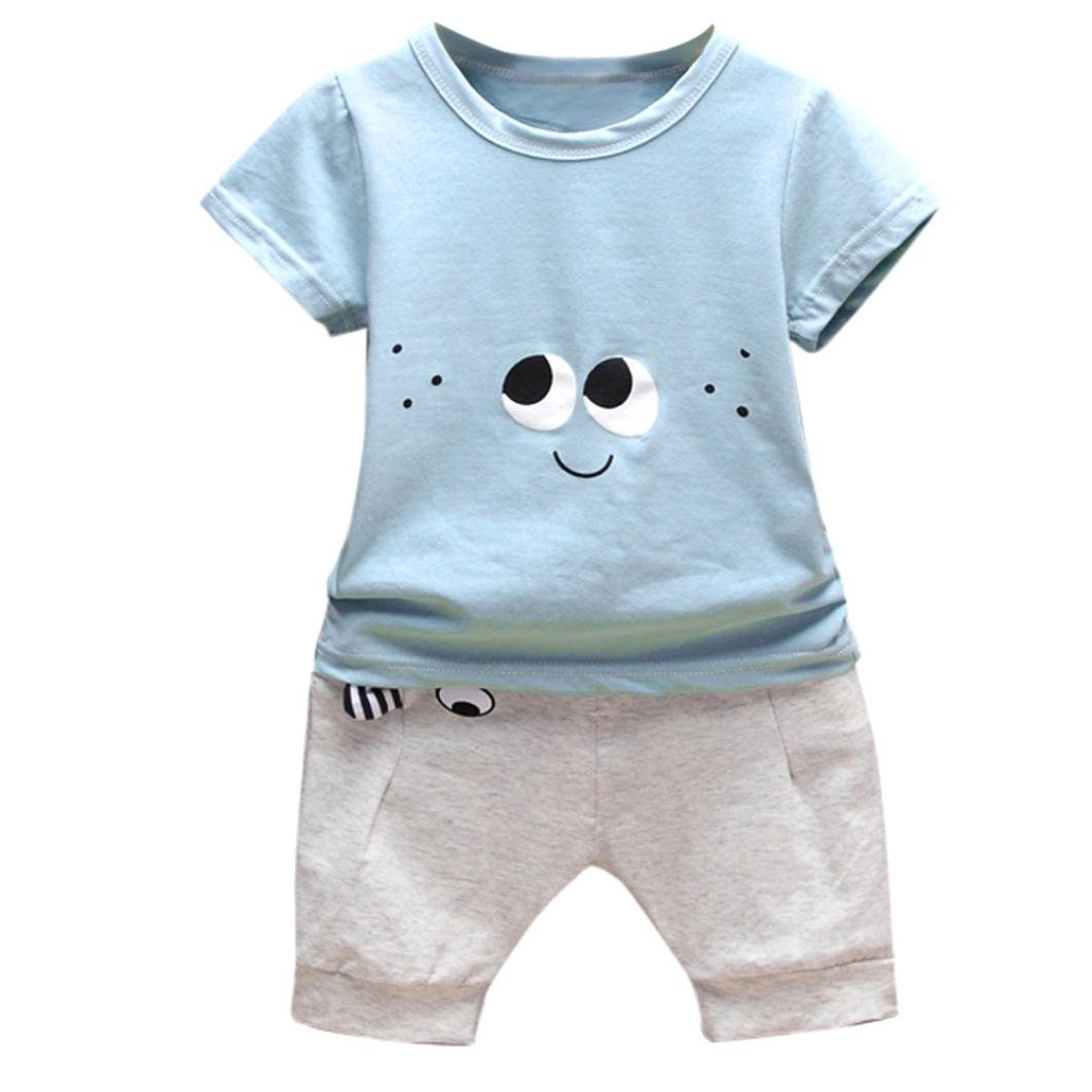 94b0ba303 Amazon.com  Fanteecy Newborn Baby Outfits Summer Cute Cartoon Eyes T ...