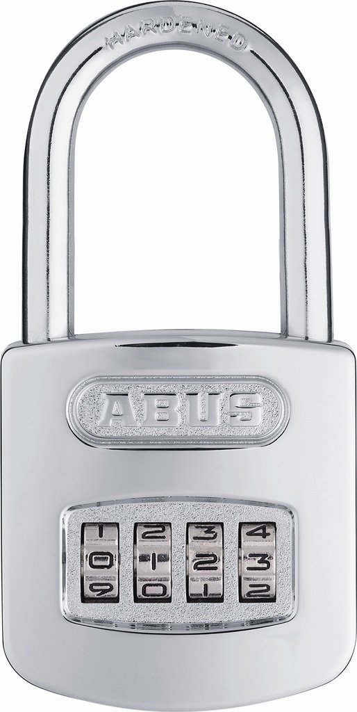 ABUS 160/50 All Weather Chrome Combination Padlock - Long Shackle (2'')