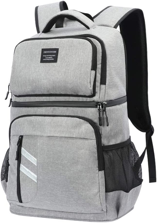 Lunch Cooler Backpack Soft Cooler Bag with Cooler Compartment for Men Women to Work Beach Picnic Outdoor Travel Camping Hiking Grey JHhomezeit Double Deck Backpack Cooler Insulated Leakproof