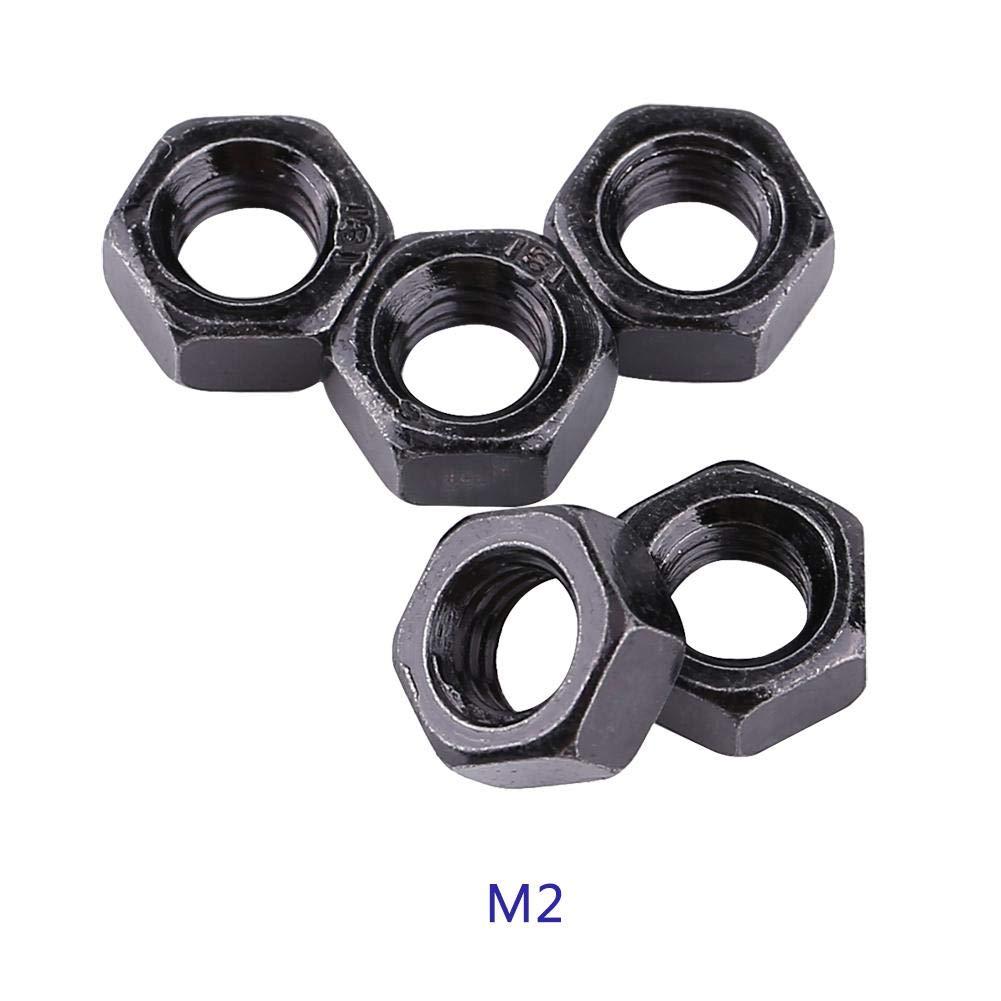 100 Unids//set M2-M5 Hilo M/étrico Hexagonal Tuercas Negro Zinc Plateado Acero al Carbono Tuercas Hexagonales Kits para Sujetador de la m/áquina M3