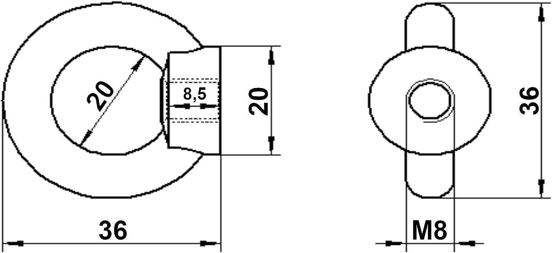 20 St/ück Ringmutter 10 mm Edelstahl V4A AISI 316 rostfrei salzwasserbest/ändig Augenbolzen Augenmutter von Sotech