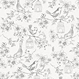 Carousel Designs White and Gray Bird Cage Fabric by the Yard - Organic 100% Cotton