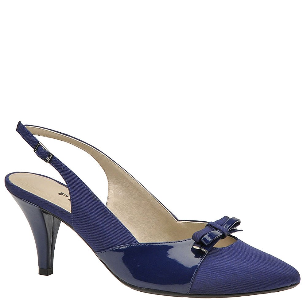Size 9.0 Proxy Womens Carey Pointed Toe Casual Slingback Sandals Navy//Patent