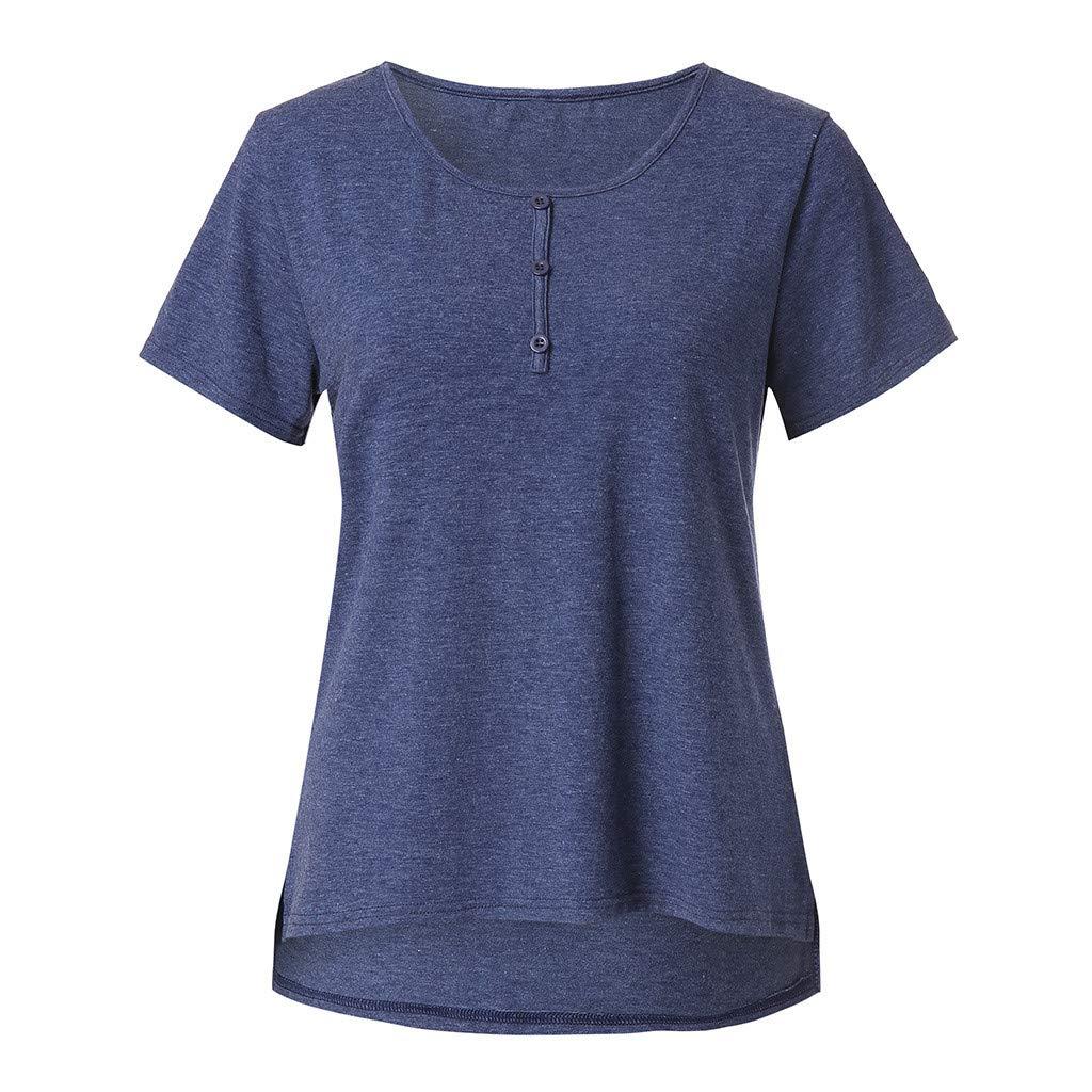 Bestow Color sólido de Las Mujeres Top Casual Tops para Mujer Camisas de Manga Corta Camisetas con Cuello Redondo Camiseta Holgada Blusas: Amazon.es: Ropa y ...