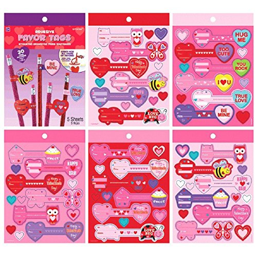Valentine Stickers Party Favors (Amscan Adorable Valentine's Day Party Adhesive Favor Tags, Multicolor, 7