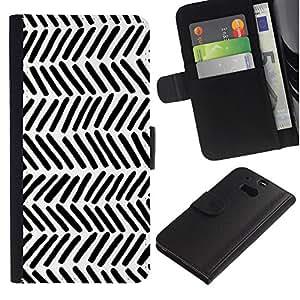 For HTC One M8,S-type® Stripes White Black Lines Hand - Dibujo PU billetera de cuero Funda Case Caso de la piel de la bolsa protectora