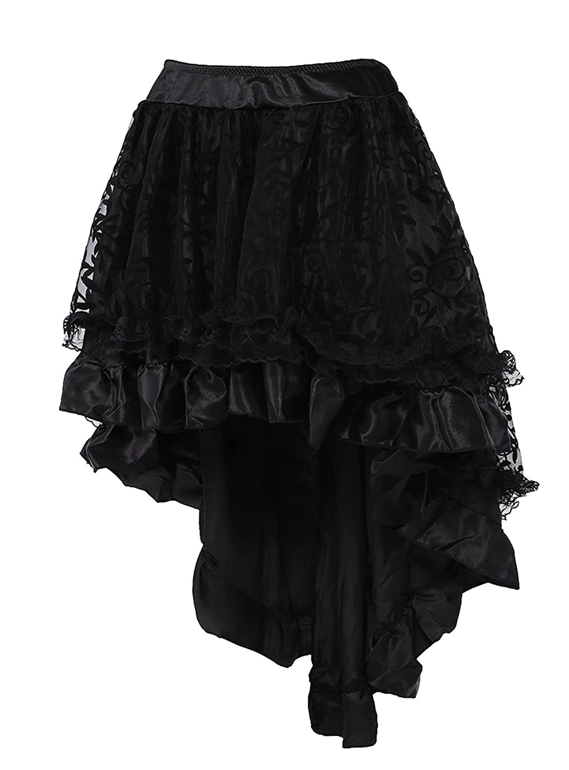 Steampunk Plus Size Clothing & Costumes  Lace Asymmetrical High Low Corset Skirt $19.99 AT vintagedancer.com
