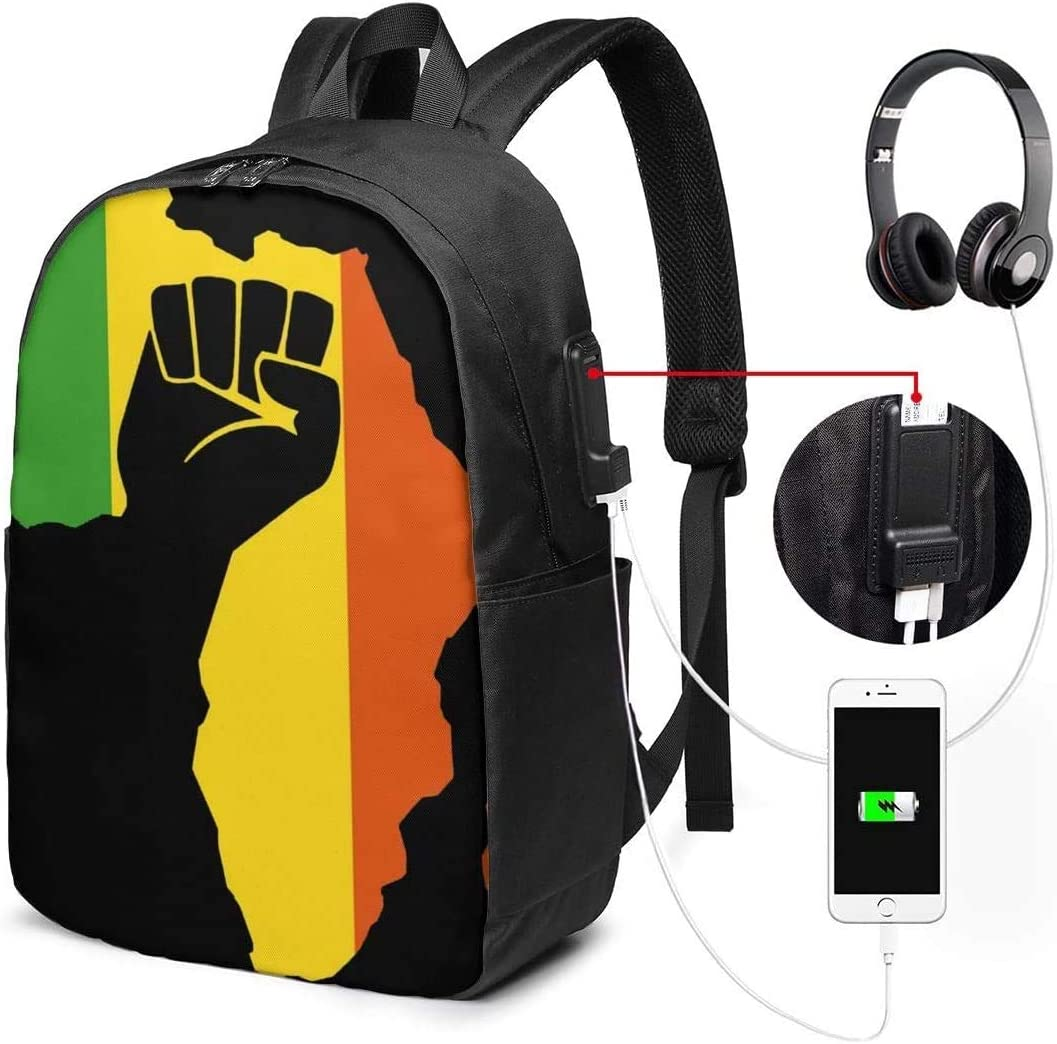 African Black Power 17 Inch Backpack Travel Laptop Bags Unisex Backpack with USB Charging Port