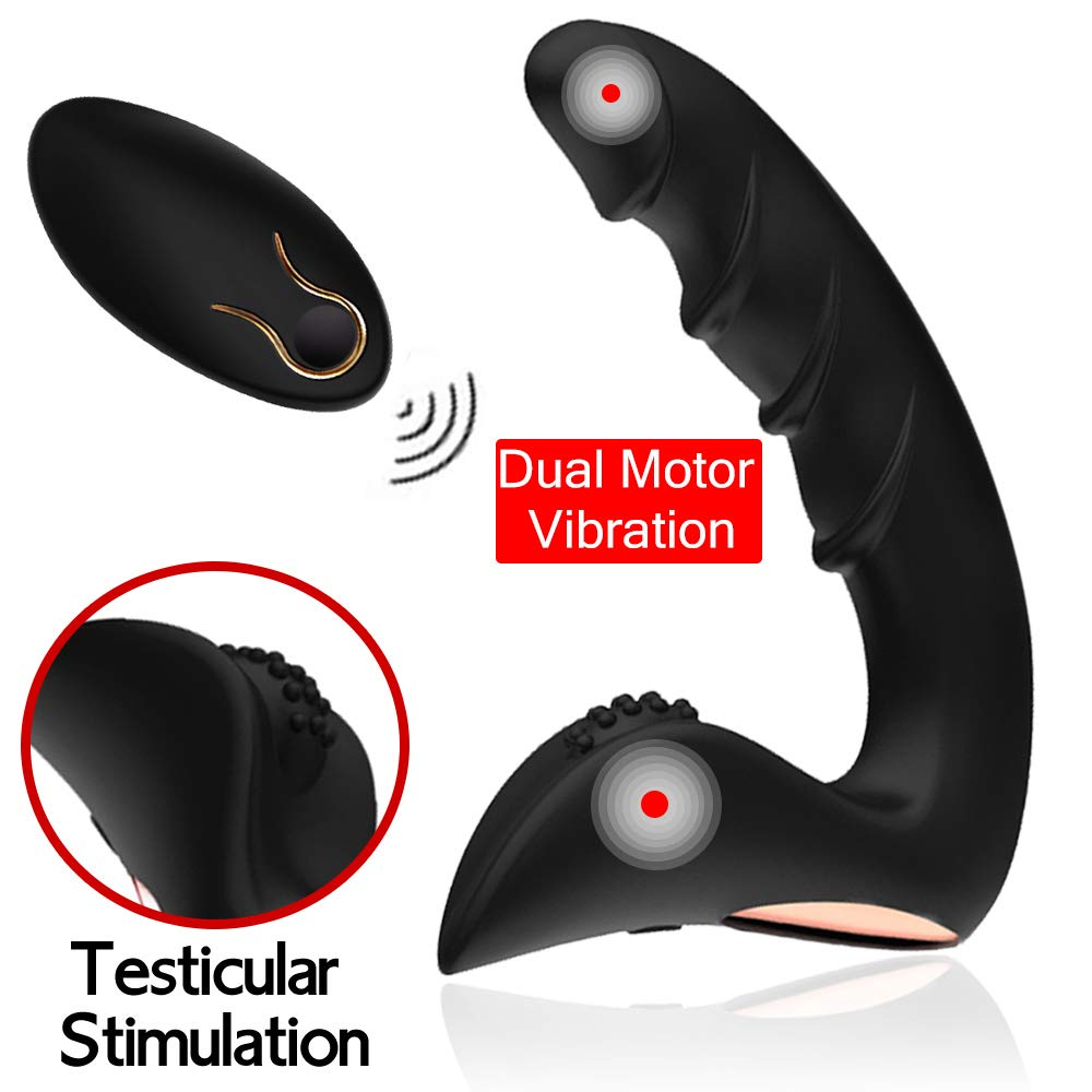 Orlupo Dual Motors Vibrating Anal Vibrator for Men with Remote Control, Anal Vibrators Vibrating Butt Plug Dildo Prostate Massager Stimulator, Adult Male Anal Sex Toys for Men Women and Couples