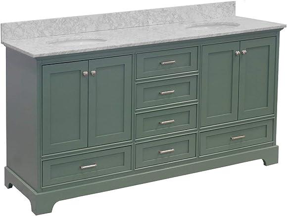 Harper 72-inch Double Bathroom Vanity Carrara/Sage Green : Includes Sage Green Cabinet