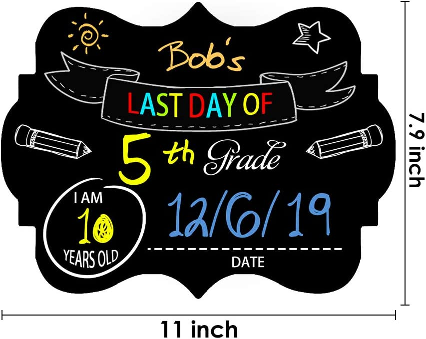 First Day and Last Day School Chalkboard Sign,Kids Back to School 1st Day Sign Photo Prop Cardboard Double Sided