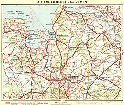 germany oldenburg bremen 1936 old map antique map vintage map