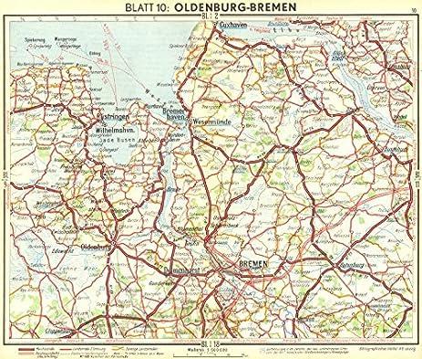 Amazoncom GERMANY OldenburgBremen 1936 old map antique map