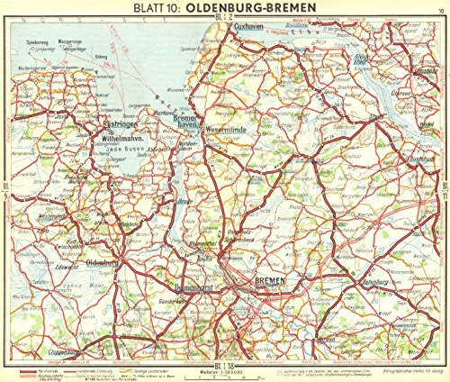 Map Of Bremen Germany.Amazon Com Germany Oldenburg Bremen 1936 Old Map Antique Map