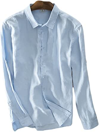 Icegrey Hombre Camisa De Lino De Manga Larga Camisas De La Playa