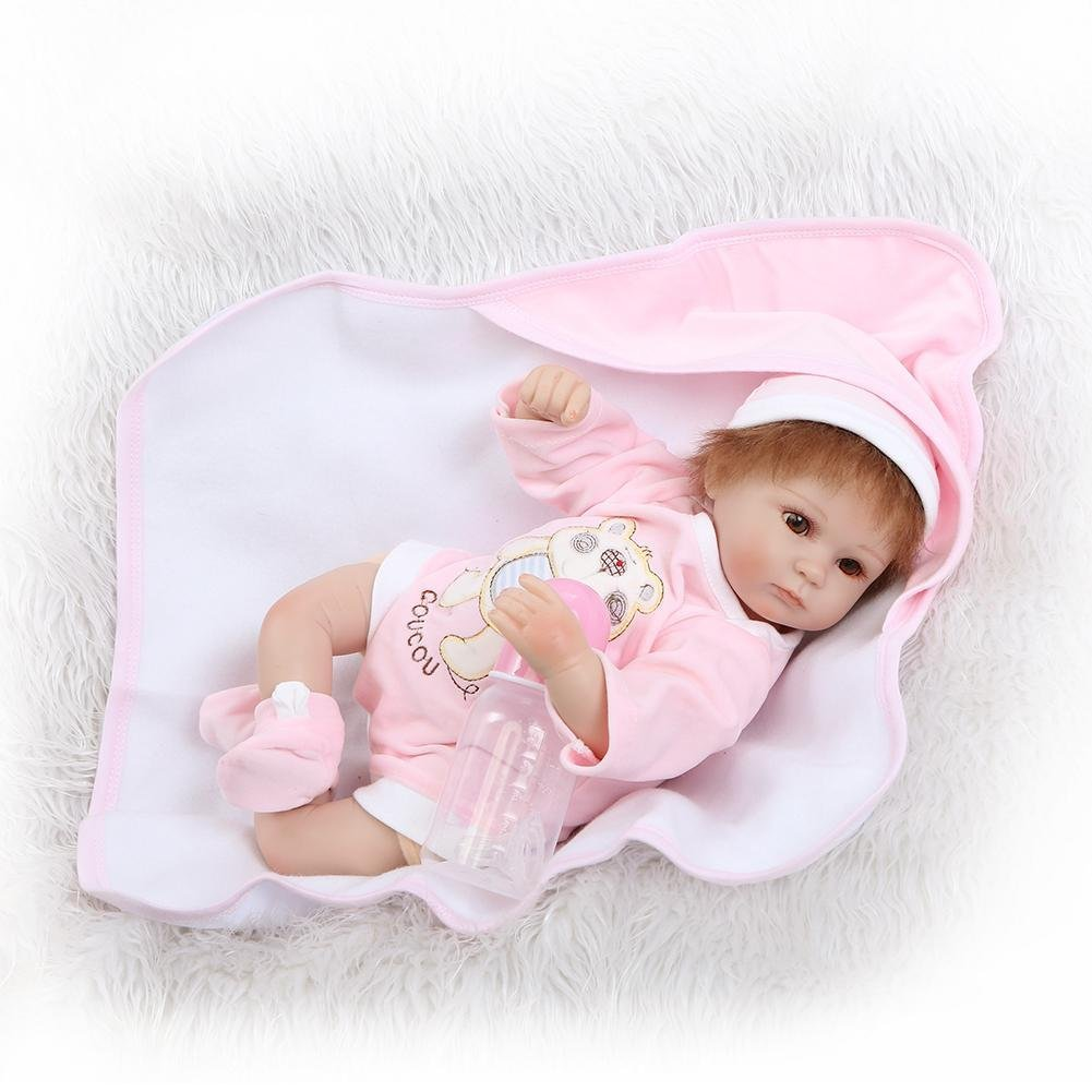 chinatera Little Girls Toy NPK Lifelike Simulation Reborn Cute Doll Soft Silicone Artificial Kids Cloth Doll by chinatera (Image #4)
