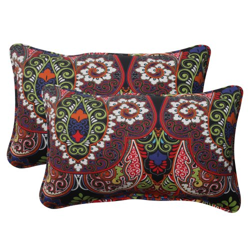 Pillow Perfect Outdoor Marapi Corded Rectangular Throw Pillow, Black, Set of 2