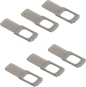 """C-Slide Webcam Cover 6 Pack - Thin Sliding Laptop Cam Blocker, Silver, 1.5"""" x 0.5"""" and 1.5mm Thick - Thin Cam Slide Blocker for Computer, Tablet, Dell, Lenovo, HP, Echo Show, iPad, Chromebook"""