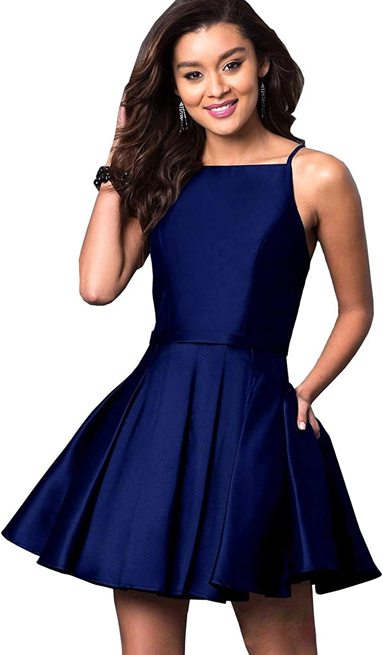 Halter Short Homecoming Dresses for Juniors 2021 Satin Spagehtti Ruched Formal Cocktail Gowns with Pockets