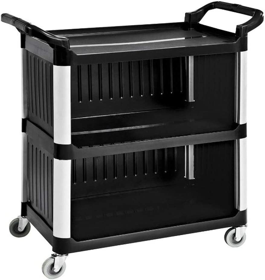 SHANGPEIXUAN Commercial Service Carts Heavy Duty 3 Shelf Plastic Utility Cart for Transporting Food, Dishes, or Janitorial Supplies(Black 40 x 19.6)