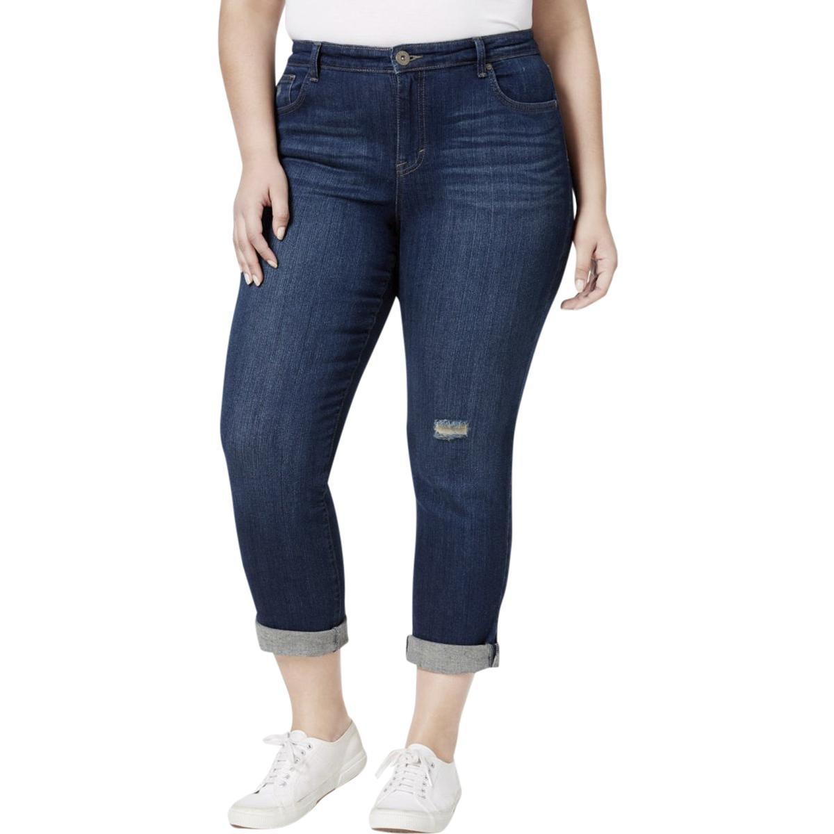 Style & Co. Womens Plus Denim Distressed Boyfriend Jeans Blue 24W